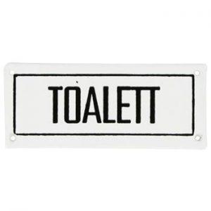 """Plåtskylt i retrostil - med texten """"Toalett"""". Ur Ginzas utbud av retroprylar."""