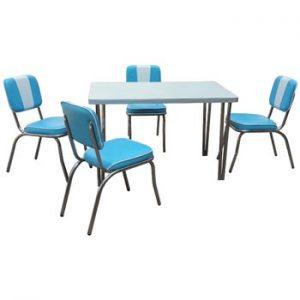 Retro Line Dinerset med 4 stolar och ett bord - ljusblått/vitt. Finns hos Ginza.