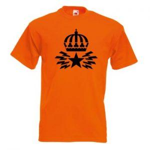 T-shirt i gällt orange med Televerkets gamla logotype. Ur Ginzas sortiment av retromerchandise.