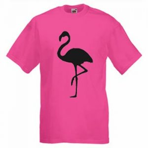 Rosa t-shirt med en flamingo-siluett i svart tryckt på framsidan. Finns hos Ginza.