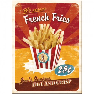 "Kylskåpsmagnet i retrostil, med ""French Fries"" text och bild. Ur Magasin11's utbud."