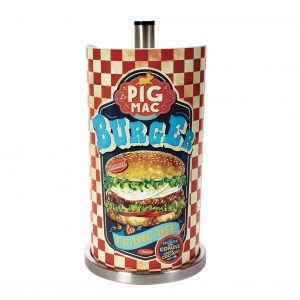 Hushållspappershållare med hamburger-motiv. Finns hos Magasin 11.