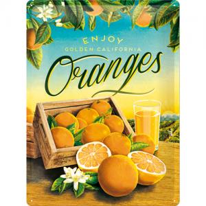 Oranges Plåtskylt i retrostil. 30 x 40 cm.
