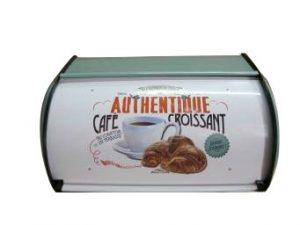 Brödbox Café Croissant, i vitt, med läcker bild på en kaffekopp och en croissant. Retrodesign. Finns hos Magasin 11.