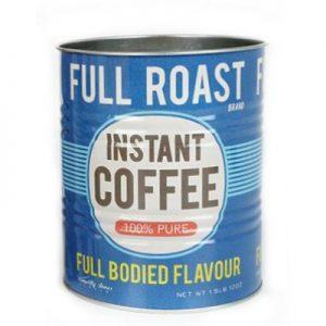 Kruka/plåtburk med Instant Coffee-motiv. Du hittar den hos Magasin 11, en stor, populär retrobutik på nätet.