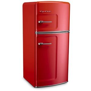 Rött retro kylskåp