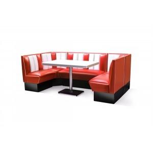 Diner booth i röd och vit färg