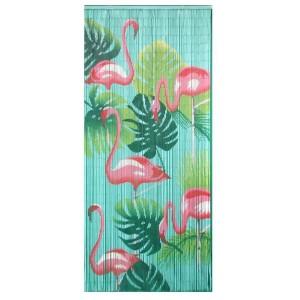 Bambudraperi. Med rosa flamingos, gröna monsterablad - mot en turkos bakgrund. Finns att beställa hos Magasin11.