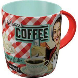 """Kaffemugg i hög kvalitet, med fint retromotiv (""""Have a coffee"""" text +bild). Muggen hittar du hos Inspiri."""